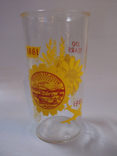 Glass 1961 KANSAS CENTENNIAL Collectible jay hawk drinking GLASS sunflower state epsteam