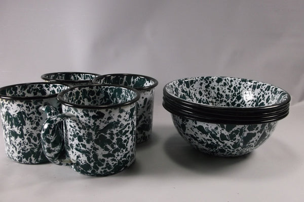 8  Piece  Green Granite Ware Set Of 4 Bowls And 4 Cups.epsteam