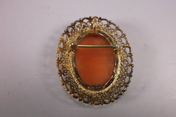 Mothers Day Gift Cameo Pendent/Brooch Art Deco Gold Plated Sterling Silver  Carved Shell .epsteam