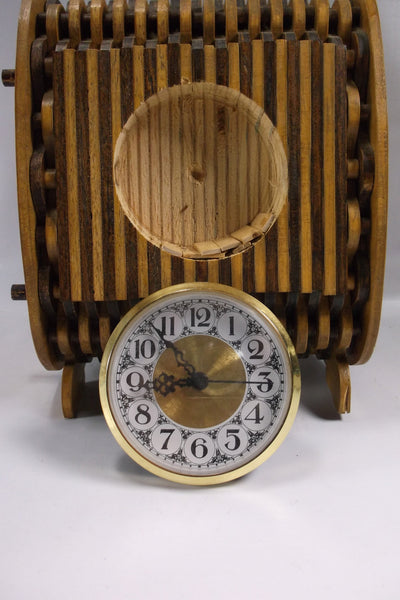 Vintage Hand Made Wooden Art  clock.epsteam