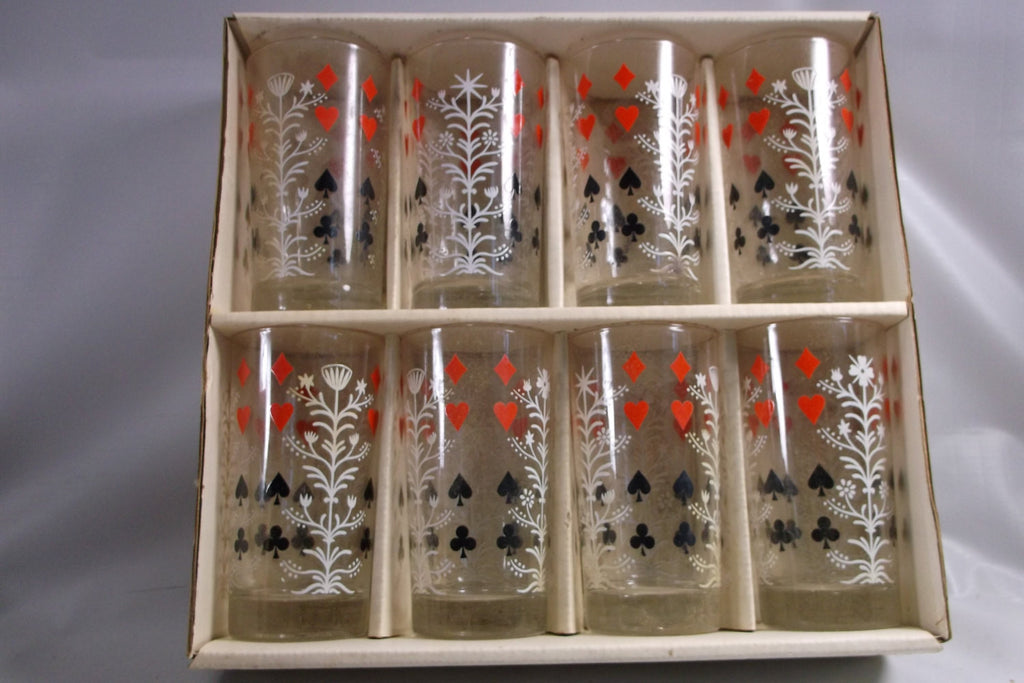 Vintage Federal Glass Trump Tree Merry Maker Glassware Set Of 8 in the original box.epsteam