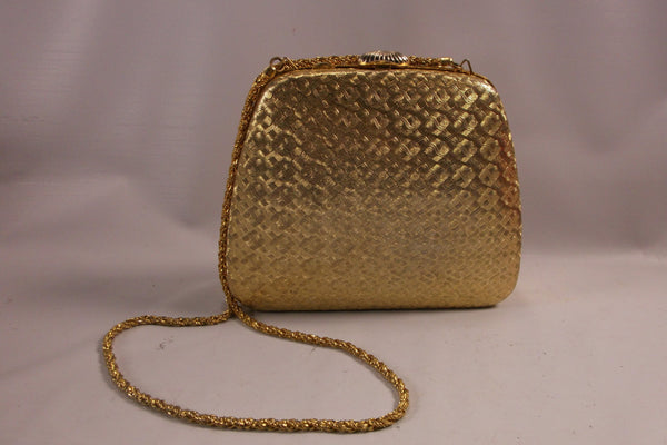 Mothers Day Gift Purse Vintage Gold Tone Mid Century Hard Shell Metal Purse Made In Italy.epsteam