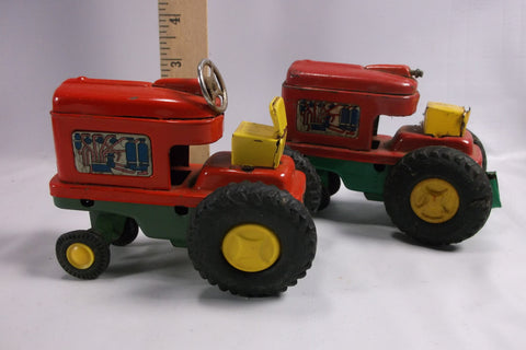 2 Pressed Tin Metal Toy Tractors.epsteam