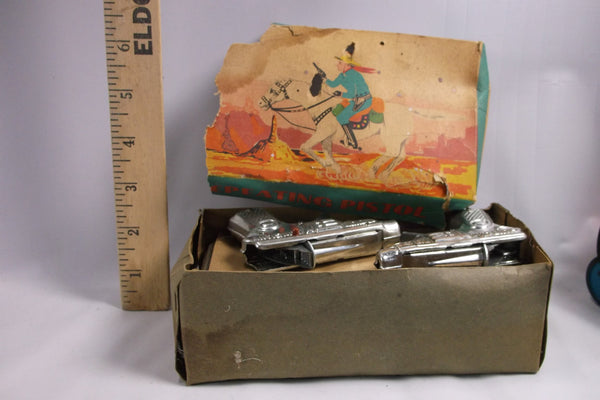 Antique Store Display Box Of 10 New Old Stock Toy Repeater Cap Guns mint.epsteam
