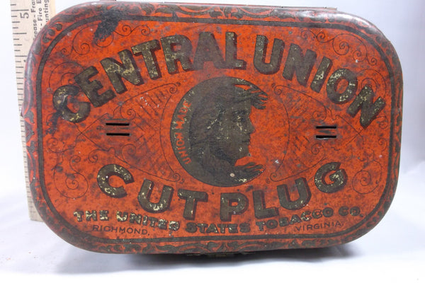 Antique Central Union Cut Plug tobacco box tin rare.epsteam