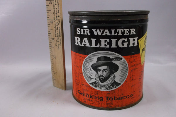 Tobacco Tin Antique Sir Walter Raleigh  With Pipe Offer .epsteam