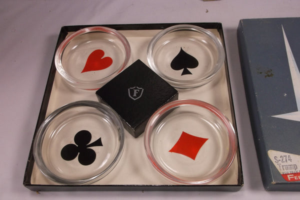 Vintage Federal Glass S-274 Trump Ashtray Poker Party Set Card Suits Boxed epsteam