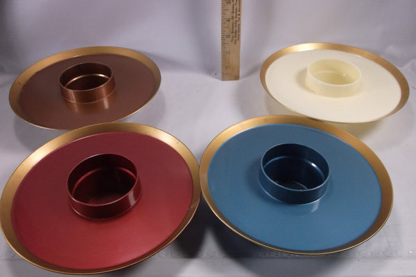"Mid Century Serve-Rite 8"" Hi-Snack Serving Trays Set Of Four USA Made Retro Colors.epsteam"