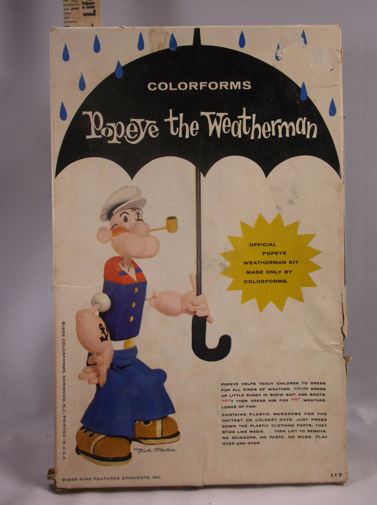 Colorforms Toy Vintage Popeye The Weatherman Made In 1959 Kit #117.epsteam