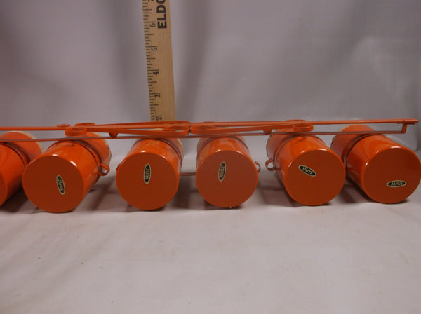 Vintage  Metal Wall Spice Rack With 6 Orange Aluminum  Spice Cans Retro  Orange.epsteam