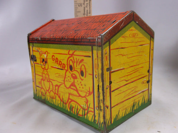 Toy Tin Litho  Pooch the Pop Out Pup~Vintage Tin Litho Toy~Made in USA Dog House.Vintage epsteam