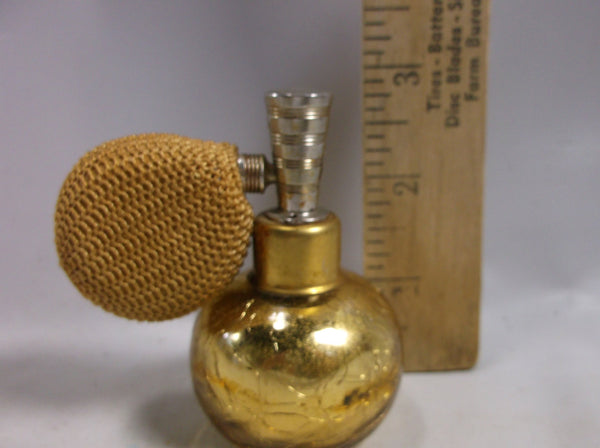 Mothers Day Gift Perfume Bottle DeVilbiss Gold Mercury Crackle Glass Atomizer w/ Original Label.epsteam