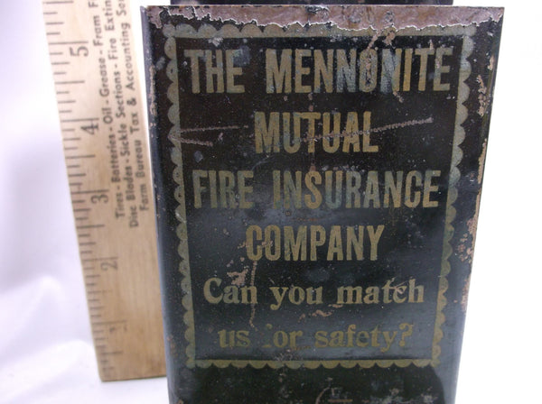 1930 s  Mennonite  Mutual Fire Insurance Advertising  Kitchen  Metal Match Box Holder.epsteami
