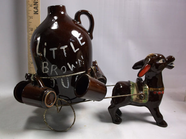 Barware Donkey Pulling Cart  Retro  Atomic Ranch Decor Donkey Pulling A Moonshine  Cart Ceramics Japan.