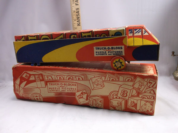 Antique Toy Truck-o-Blocks Paper toy Puzzle In Box Harcourt Company Chicogo Ill..epsteam