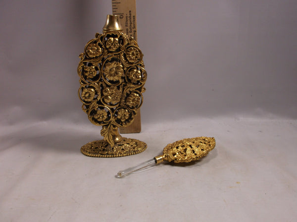 "Perfume Bottle Vintage Stylebuilt  Rose 9""  with rose design  circa 1940's 24k gold plated."