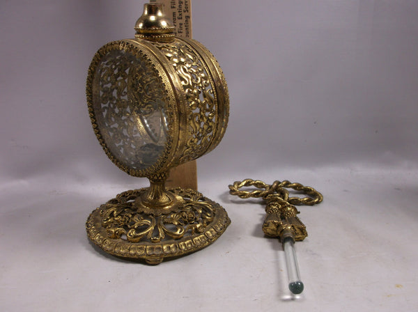 "Perfume Bottle Vintage Guildcrest Rose 9""with rose design dauber circa 1940's 24k gold plated."