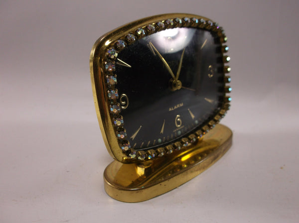 Travel Alarm Clock Vintage Florn alarm clock from Germany Wind Up Jeweled In Great Condition.epsteam