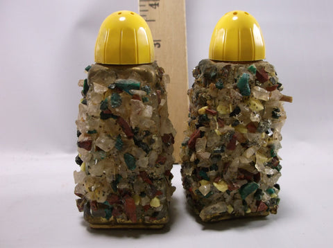 1956 Shakers Set Vintage Hand Crafted Rock Art Souvenir Knoots Berry Farm Salt & Pepper Shaker set.epsteam