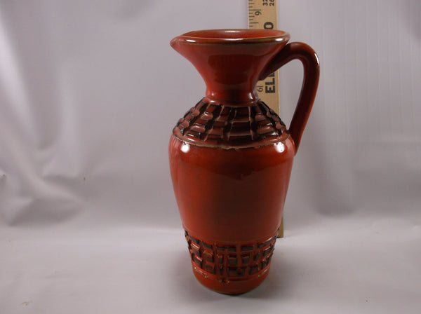 Vintage Italian Pottery Pitcher/ Vase Aztec Design Reddish / Orange Signed Made In Italy ,Mid Century Modern.epsteam