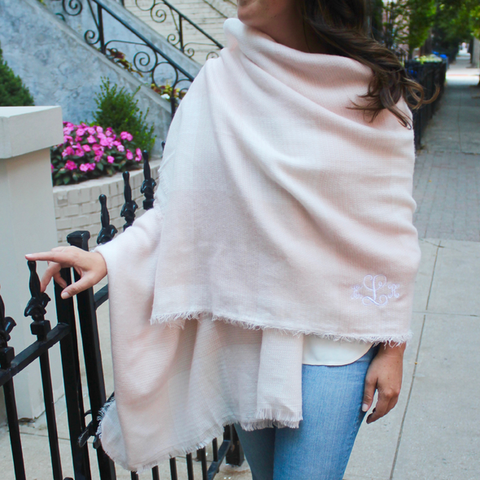 pale pink blanket scarf rosa gold