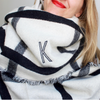 Monogrammed Blanket Scarf - Reversible Black & White