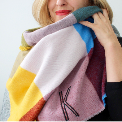 Monogrammed Blanket Scarf - Colorful Box Plaid