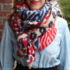 Monogrammed Blanket Scarf Colorful Boho Pattern