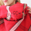 Monogrammed Blanket Scarf - Red Box Plaid