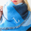 Monogrammed Blanket Scarf - Shades of Blue