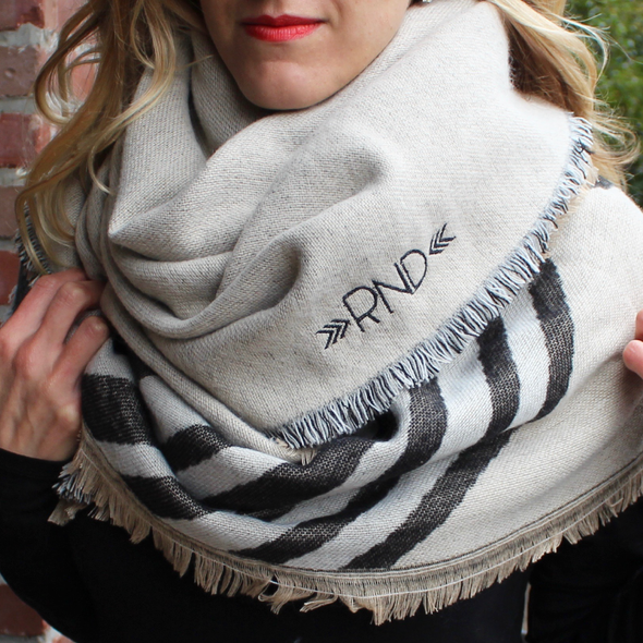 Monogrammed Blanket Scarf  Neutral Stripes