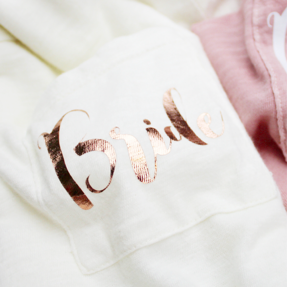 Bride Pocket T-Shirt in Rose Gold and Antique Gold