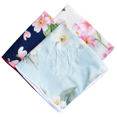 Wedding Day Handkerchief - Floral