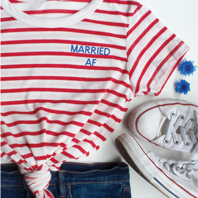 married af shirt striped