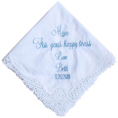 Wedding Day Handkerchief - Mom / Mother of the Bride - Happy Tears