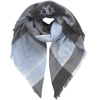 Monogrammed Blanket Scarf Baby Blue  White
