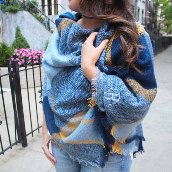 Monogrammed Blanket Scarf  Blue  Gold Game Day