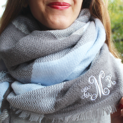 monogrammed blanket scarf baby blue light blue