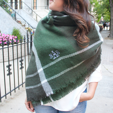 Monogrammed Blanket Scarf  Green  White Game Day