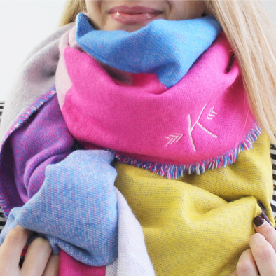 Monogrammed Blanket Scarf - Pink, Blue, Yellow & Purple