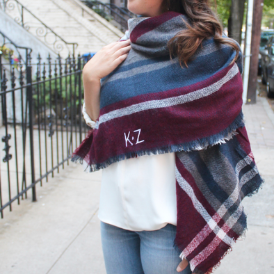 Monogrammed Blanket Scarf Red  Blue  Grey plaid