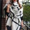 Monogrammed Blanket Scarf Reversible Black  White box plaid