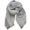 Monogrammed blanket scarf grey white stripes bridesmaid gift