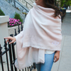 Monogrammed Blanket Scarf Baby Pink White