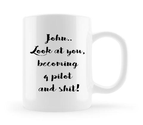 personalised coffee mug gift for pilot