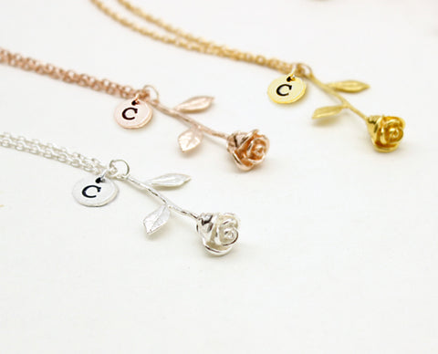 personalised beauty and the beast rose necklaces