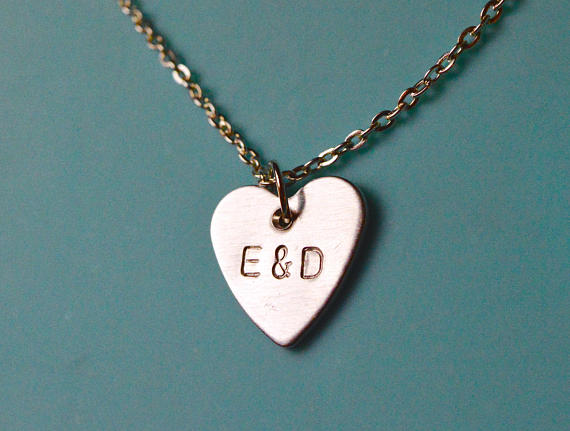 personalised initials heart necklace