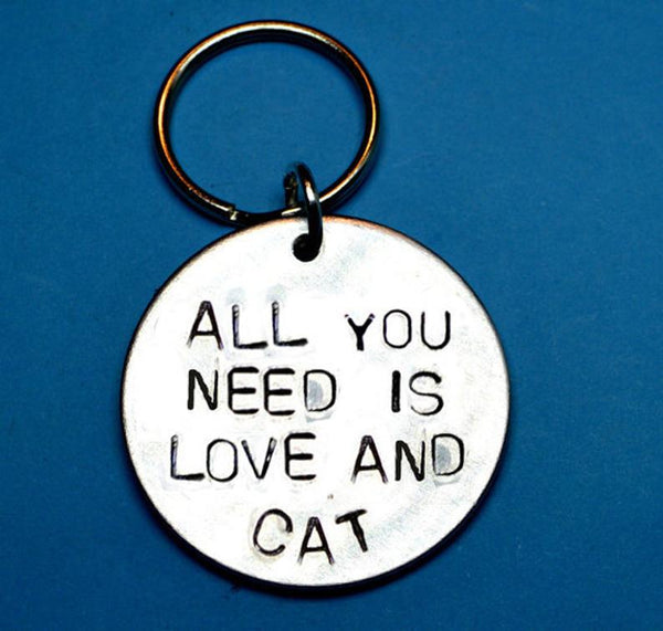 All You Need Is Love and Cat - Cat Keychain Gift