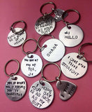 Handmade Artisian gift shop UK, gift ideas, fun and cute keychains , hand stamped jewelry, Spiritual gift, new years gift