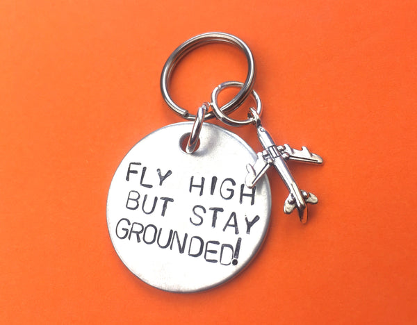 Pilot gift - keychain aviation - fly high - airplane charm.
